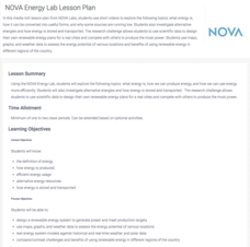 NOVA Energy Lab Lesson Plan Lesson Plan