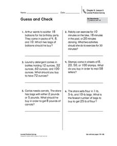 Guess and Check Worksheet