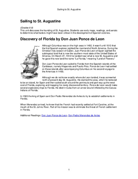 Sailing to St. Augustine Worksheet