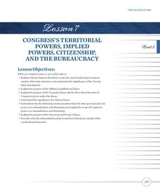 Congress's Territorial Powers, Implied Powers, Citizenship, and the Bureaucracy Lesson Plan