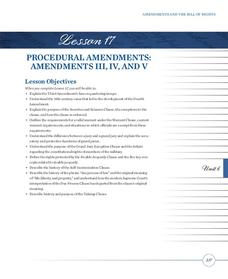 Procedural Amendments: Amendments III, IV, and V Lesson Plan