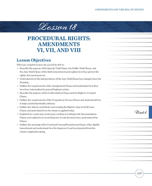 Procedural Rights: Amendments VI, VII, and VIII Lesson Plan