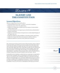 Slavery and the Constitution Lesson Plan