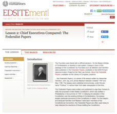 Lesson 2: Chief Executives Compared: The Federalist Papers Unit