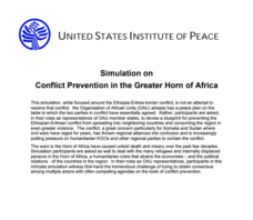 Simulation on Conflict Prevention in the Greater Horn of Africa Activities & Project
