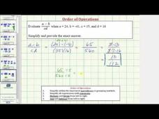 Evaluate an Expression in the Form (a-b)/(cd) (Example) Video