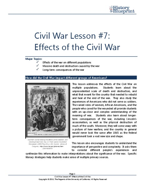 Effects of the Civil War Lesson Plan