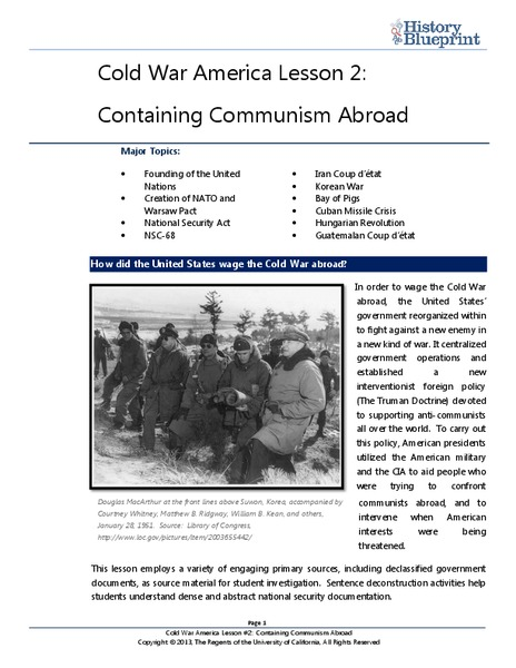 Containing Communism Abroad Lesson Plan