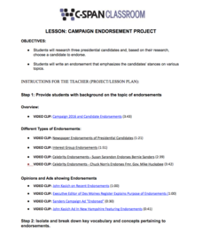 Campaign Endorsement Project Lesson Plan