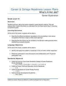 What's A Hot Job? Lesson Plan