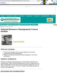 Natural Resource Management Course Outline Lesson Plan