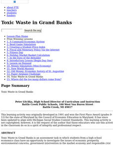 Toxic Waste in Grand Banks Lesson Plan