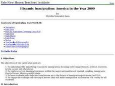 Hispanic Immigration: America in the Year 2000 Lesson Plan