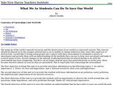 What We As Students Can Do To Save Our World Lesson Plan