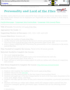 Personality and Lord of the Flies Lesson Plan