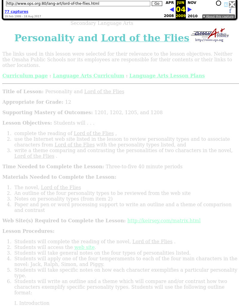 Personality and Lord of the Flies Lesson Plan for 10th