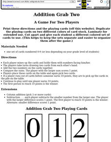 Addition Grab Two Lesson Plan