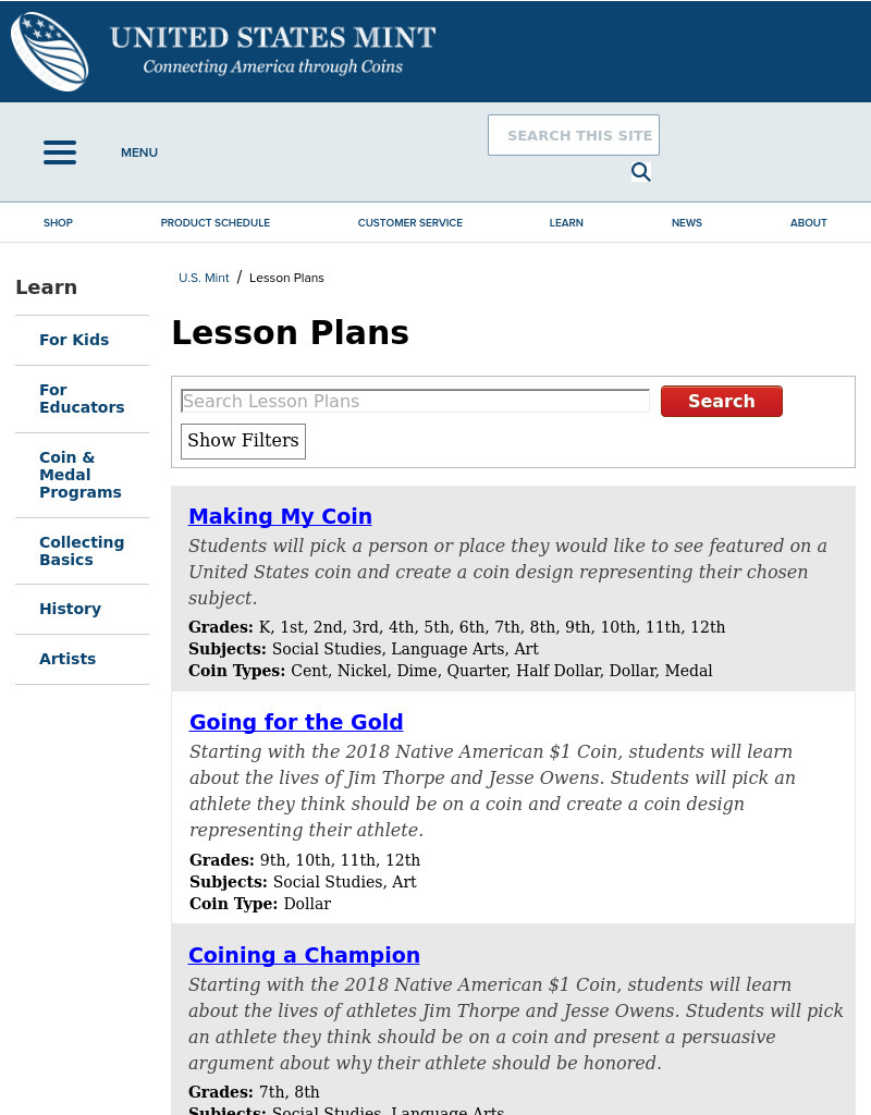 Commemorative Coin Poetry Lesson Plan