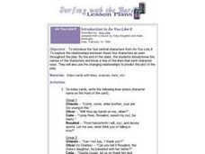 Introduction to As You Like It Lesson Plan