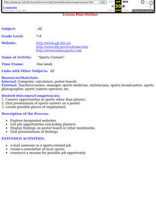Sports Careers Lesson Plan