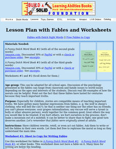 Fables With Dolch Sight Words Lesson Plan