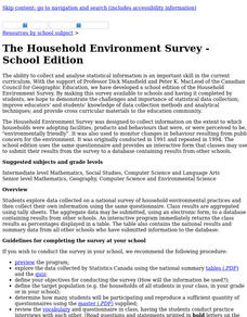 The Household Environment Survey Lesson Plan