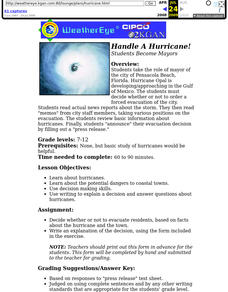 Handle A Hurricane!  Students Become Mayors Lesson Plan