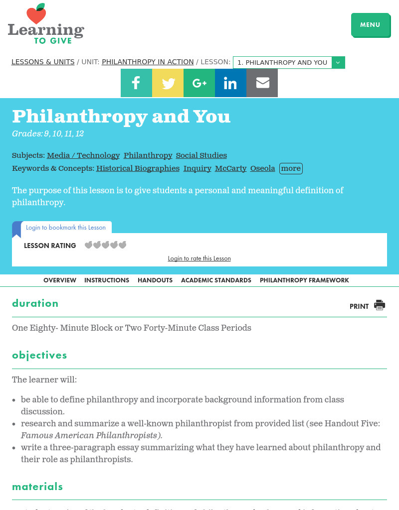 Philanthropy and You Lesson Plan