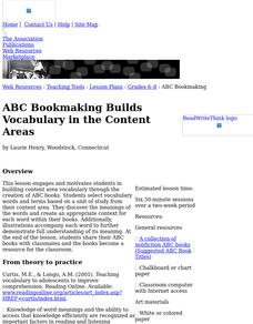 ABC Bookmaking Builds Vocabulary In the Content Areas Lesson Plan
