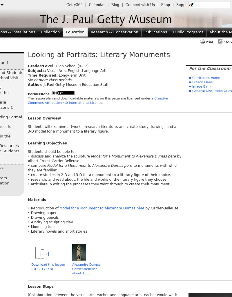 Looking At Portraits: Literary Monuments Lesson Plan