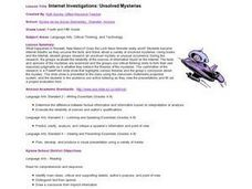 Internet Investigations:  Unsolved Mysteries Lesson Plan