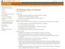 Writing Letters to Parents Lesson Plan