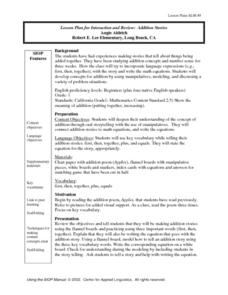 Addition Stories Lesson Plan