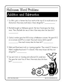 Halloween Word Problems Worksheet