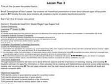 Recyclable Plastics Lesson Plan