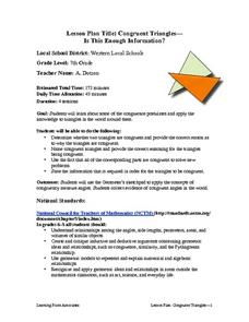 Congruent Triangles - Is This Enough Information? Lesson Plan