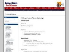 A Lesson Plan on Beginnings Lesson Plan