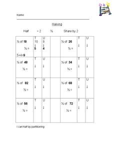 Halving Worksheet