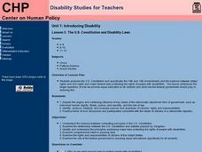The U.S. Constitution and Disability Laws Lesson Plan