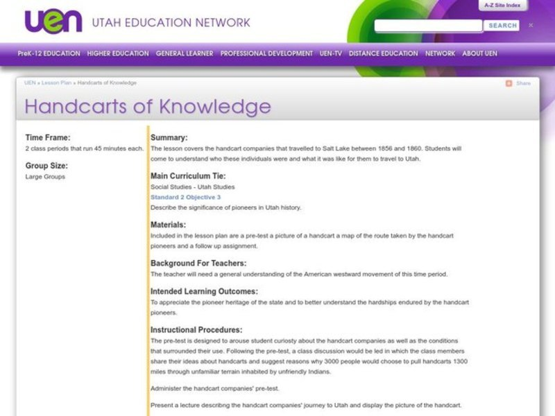 Handcarts of Knowledge Lesson Plan