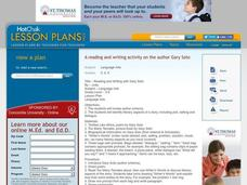 A Reading and Writing activity on the author Gary Soto Lesson Plan