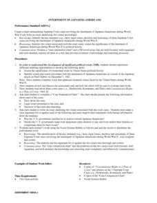 Internment of Japanese Americans Lesson Plan