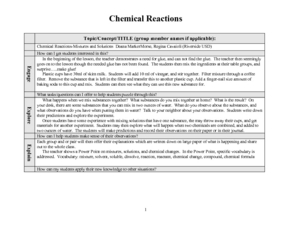 Chemical Reactions Lesson Plan
