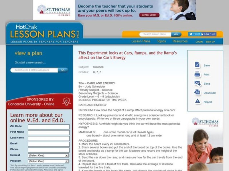 Cars and Energy Lesson Plan