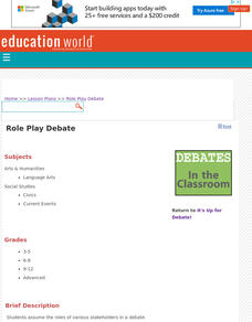 Role Play Debate Lesson Plan