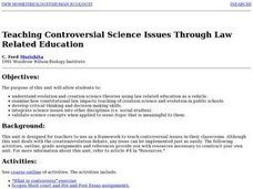 Teaching Controversial Science Issues Through Law Related Education Lesson Plan