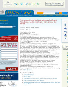 Where In The World! Science Lesson Plan Lesson Plan