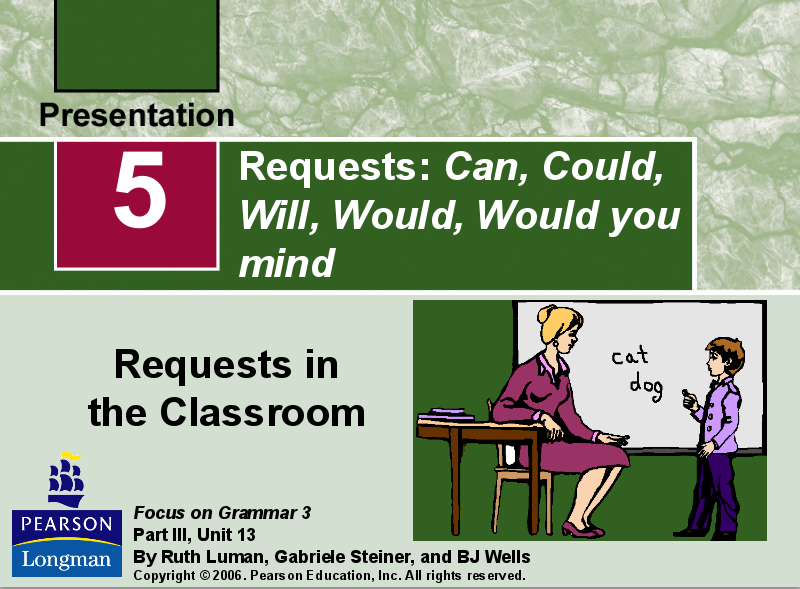 Requests: Can, Could, Will, Would, Would You Mind Presentation