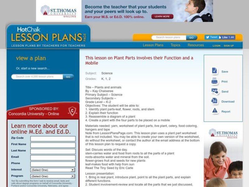 Plants and Animals Lesson Plan