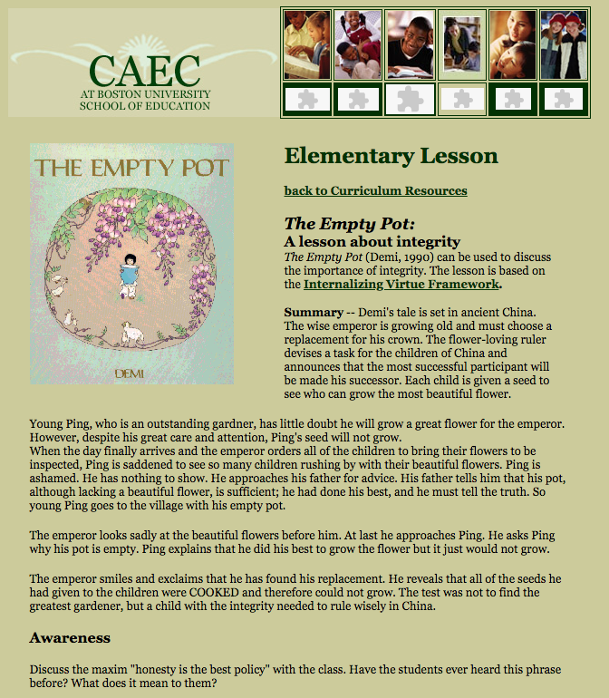 The Empty Pot: A Lesson About Integrity Lesson Plan